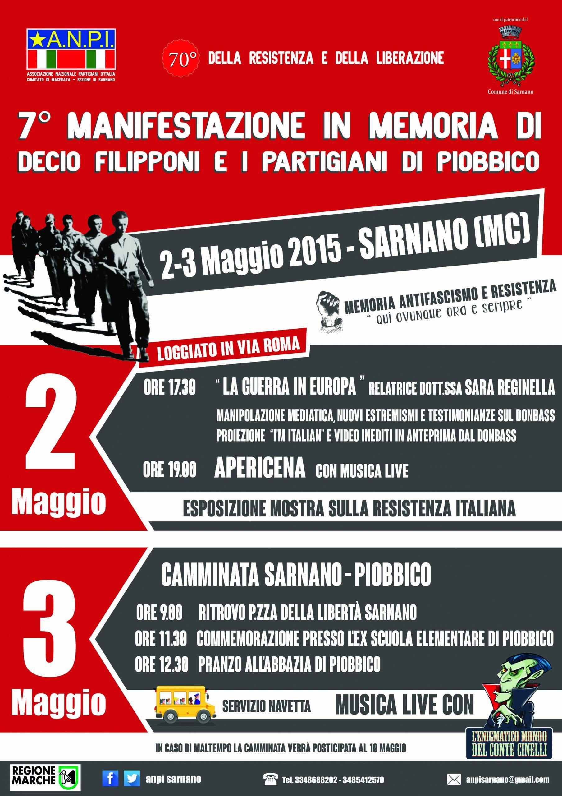 Sara Reginella   7ª Manifestazione in memoria di Decio Filipponi e i partigiani di Piobbico