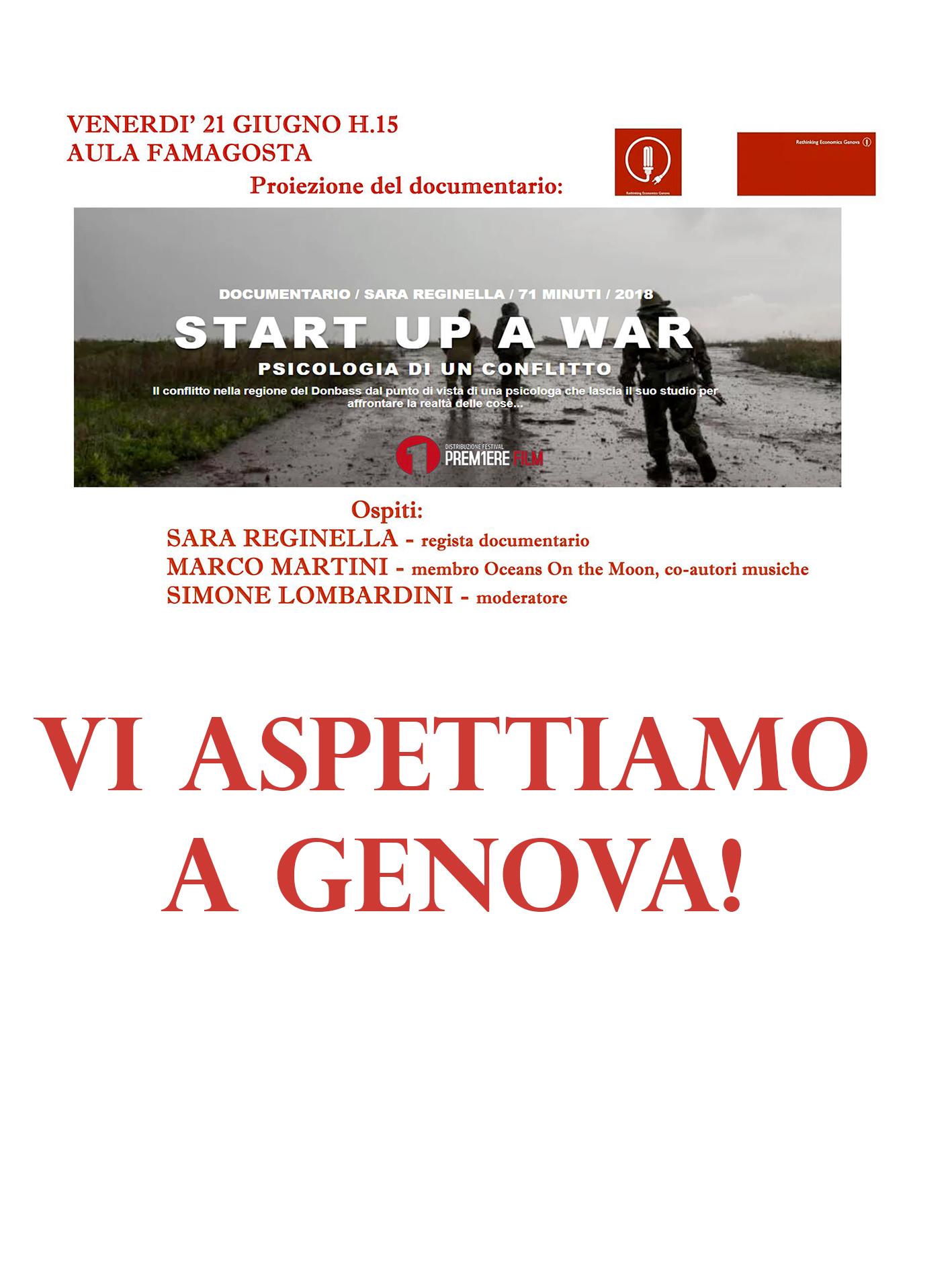 Sara Reginella   Start Up a War Proiezione Documentario Aula Famagosta Genova