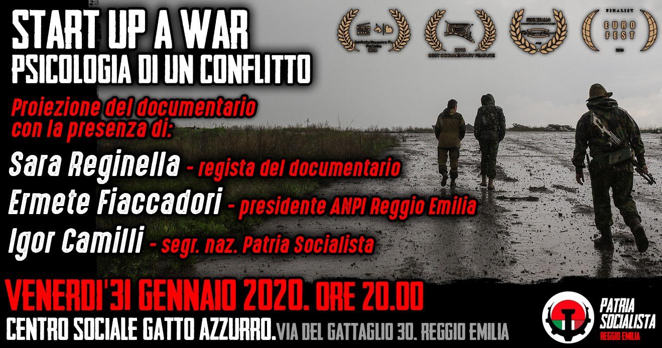 Sara Reginella | Start Up a War Proiezione documentario Reggio Emilia Centro Sociale Gatto Azzurro