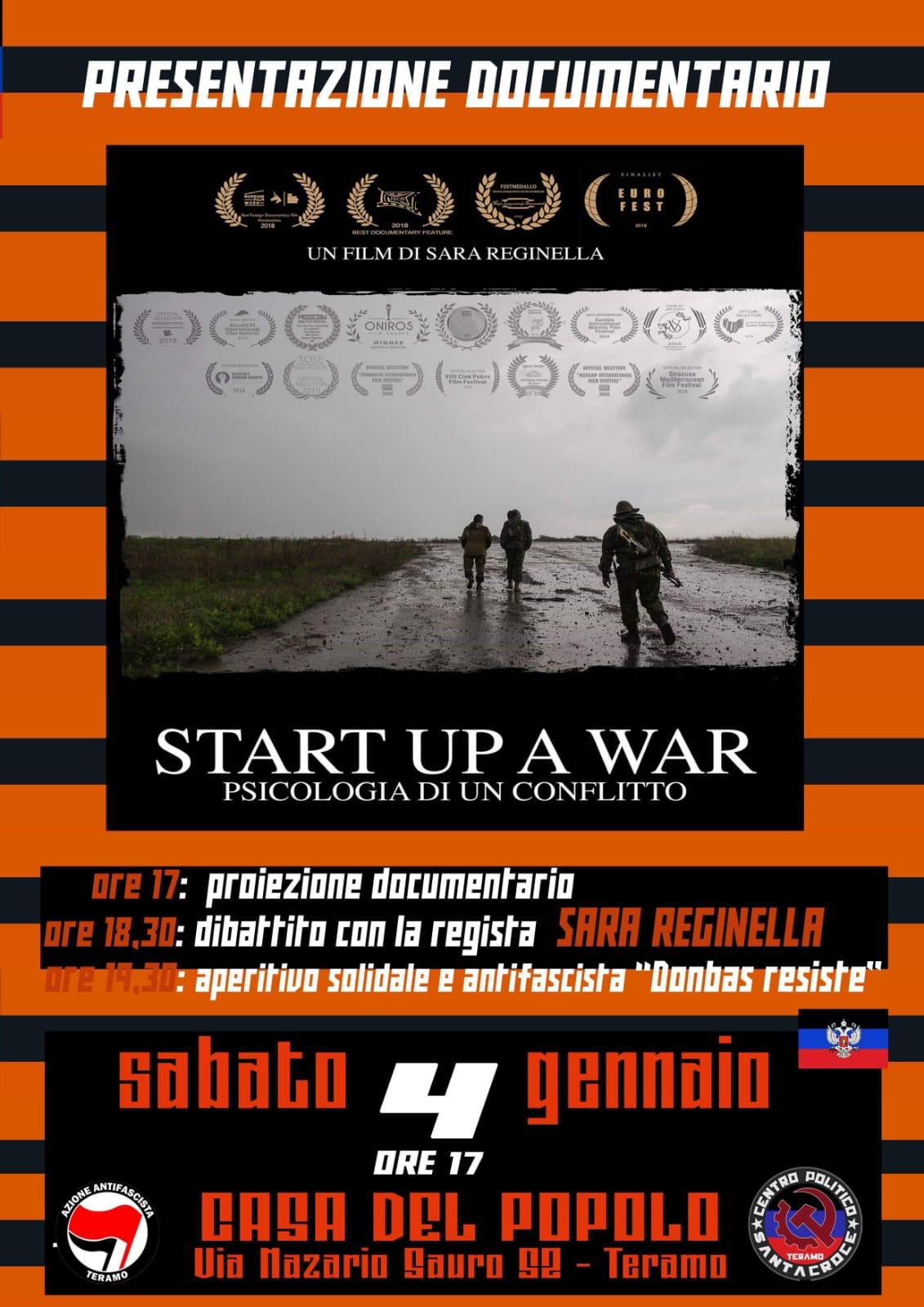 Sara Reginella | Start Up a War proiezione Teramo Casa del Popolo